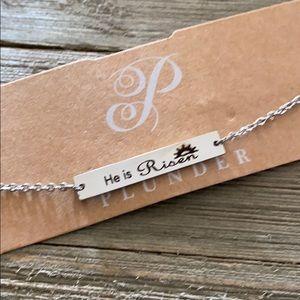 """🔸Plunder """"He is Risen"""" Silver tone  Bracelet"""